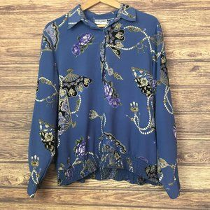 Alfred Dunner Blue Pearl Print Long Sleeve Blouse